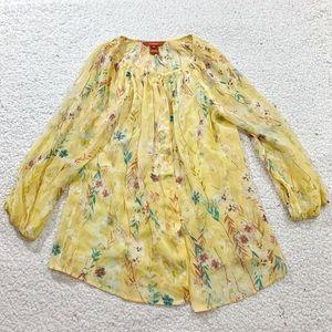 Sundance floral button down sheer silk top